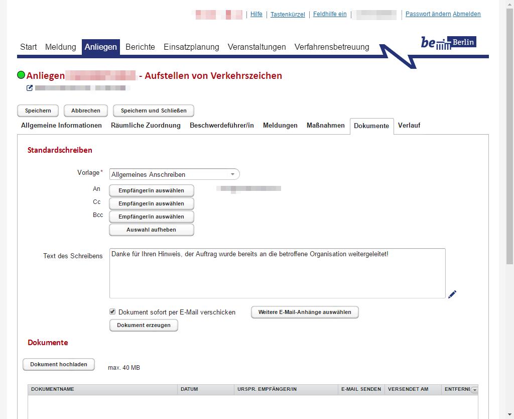 Screenshot: Per Knopfdruck zur automatisierten und personalisierten E-Mail - einfach, sicher und dokumentiert
