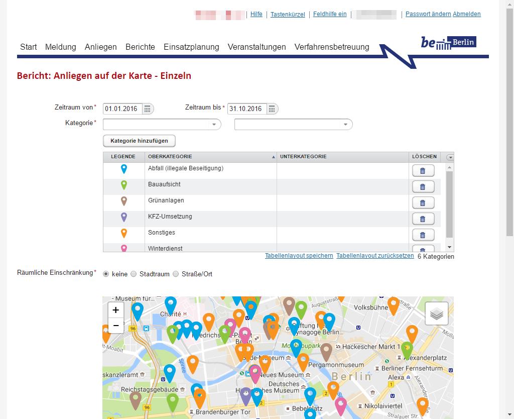Screenshot: Berichtserstellung: Einzelne Anliegen