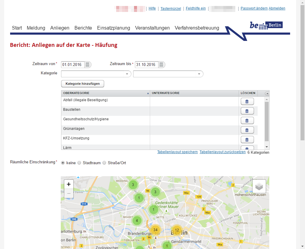 Screenshot: Berichtserstellung: Häufig von Meldungen