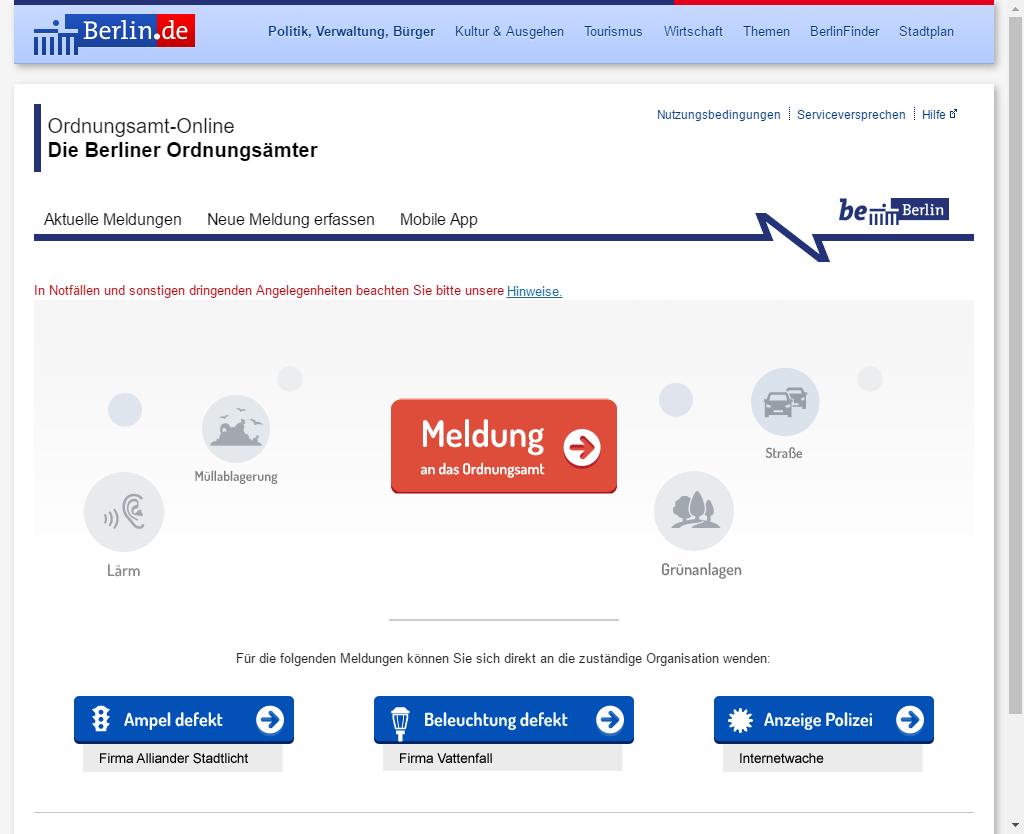 Screenshot: Bürger können Meldungen auch bequemen von Zuhause oder am Arbeitsplatz erfassen