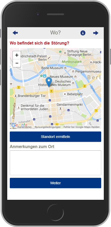 Screenshot: Standort zur Meldung ergänzen