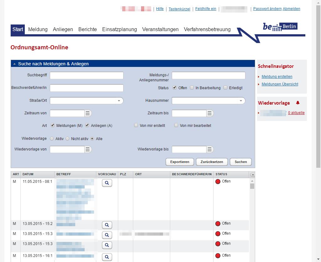 Screenshot: Zentrale Suche nach Meldungen