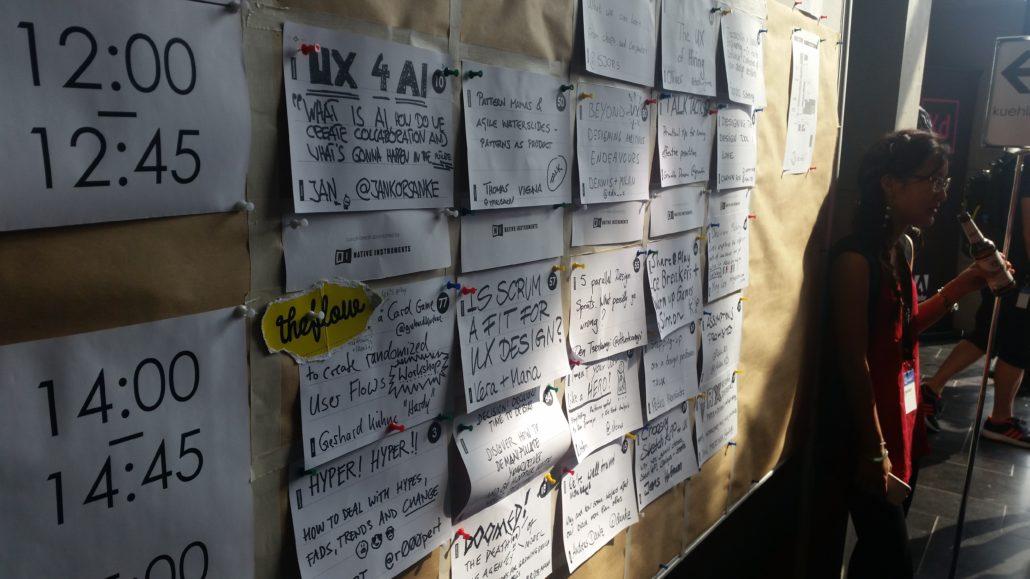 Das Session Board am UX Camp Berlin
